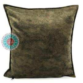 Velvet kussen olijf groen (4021) ± 45x45cm