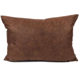 Leatherlook kussen in de kleur cognac ± 50x70cm