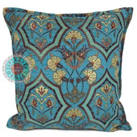 Turquoise kussen - Flowers mint en turquoise ± 45x45cm