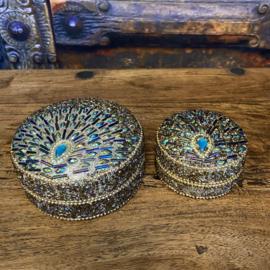 """Juwelendoosje """"pauw"""" turquoise (set van 2 stuks) 5cm en 10cm"""
