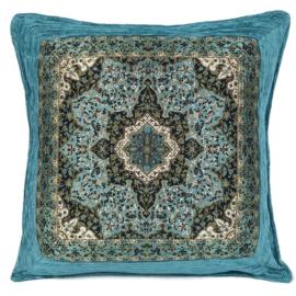 Turquoise kussen - Mandala Flower ± 45x45cm