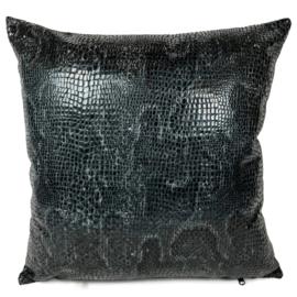 Slangenprint kussen python grijs met zwart ± 45x45m