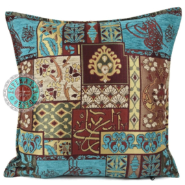 Turquoise kussen - Patchwork rood ± 70x70cm