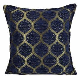 Honingraat donkerblauw kussen goud motief ± 45x45cm
