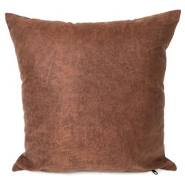Leatherlook kussen in de kleur cognac ± 45x45cm
