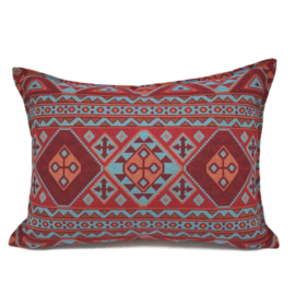 Esperanza Deseo ® kussen - Native, turquoise rood en oranje ± 50x70cm