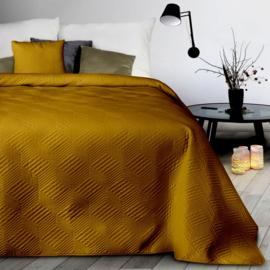 Donker oker (goudbrons) bedsprei 220x240cm met twee bijpassende kussenhoezen 40x40cm