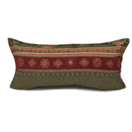 Legergroen en rood kussen -  Aztec ± 30x60cm