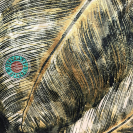 Okergeel kussen met mooie veren/bladeren print ± 70x70cm