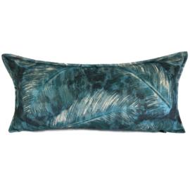 Turquoise kussen met mooie veren/bladeren print ± 30x60cm