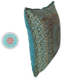 Turquoise kussen - Mandala little Flowers ± 45x45cm