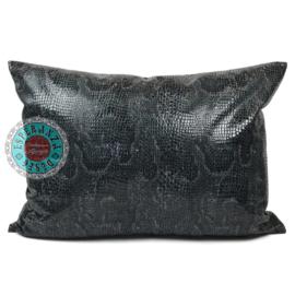 Slangenprint kussen python grijs met zwart ± 50x70cm