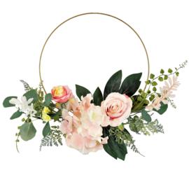 Krans met rozen zijdebloemen 40x20x10cm