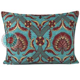 Turquoise kussen - Flower rood ± 50x70cm