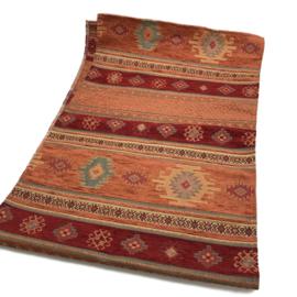 Tafelloper 45x140cm - Aztec brick oranje en rood