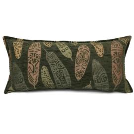 Legergroen kussen - Boho Feathers ± 30x60cm