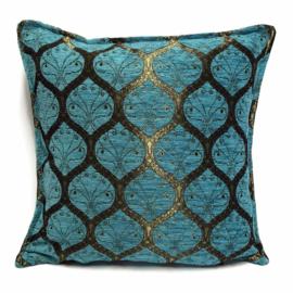Turquoise kussen - Honingraat met brons patroon ± 45x45cm