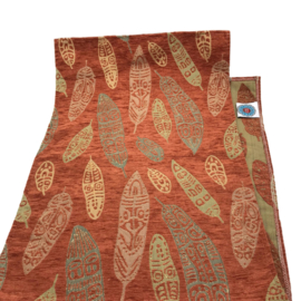 Tafelloper 45x140cm - Boho feathers brick oranje