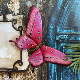 Wand decoratie roze metaal vlinder 45 x 30cm