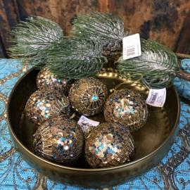 Set van 6 prachtige kerstballen goud/brons met turquoise 7cm