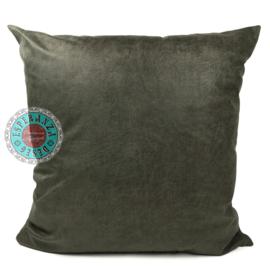 Leatherlook kussen in de kleur donker groen ± 70x70cm
