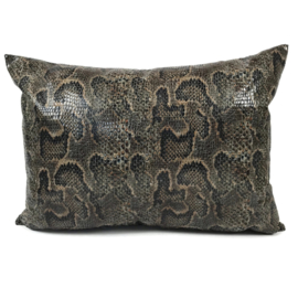 Slangenprint kussen python brick oranje met zwart ± 50x70cm