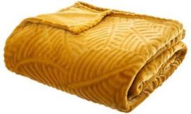 Flanellen fleece plaid Oker Geel met blad motief - 220x240cm