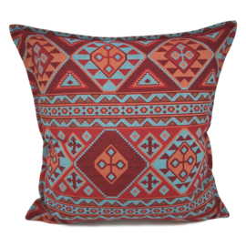 Esperanza Deseo ® kussen - Native, turquoise rood en oranje ± 60x60cm