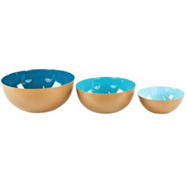 Set metalen schalen in de kleur petrol, turquoise, licht blauw
