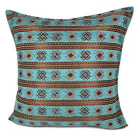 Turquoise blauw groen kussen - Peru stripes ± 60x60cm