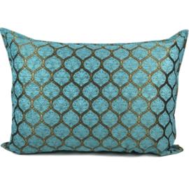 Turquoise kussen - Honingraat met goud patroon ± 70x100cm