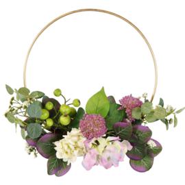 Krans met hortensia zijdebloemen 40x20x10cm