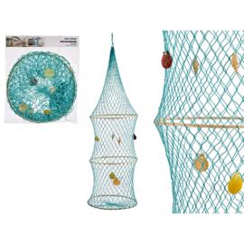Turquoise visnet decoratie 32x115cm