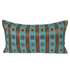 Turquoise blauw groen kussen - Peru stripes ± 30x60cm