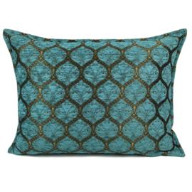 Turquoise kussen - Honingraat met goud patroon ± 50x70cm
