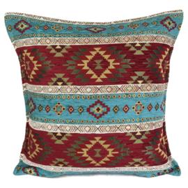 Esperanza Deseo ® kussen - Kelim, turquoise en rood ± 45x45cm