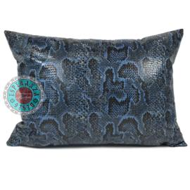Slangenprint kussen python blauw met zwart ± 50x70cm