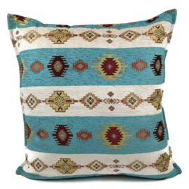 Turquoise blauw/groen kussen - Aztec wit ± 70x70cm
