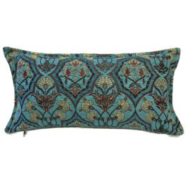 Turquoise kussen - Flowers turquoise en petrol ± 30x60cm