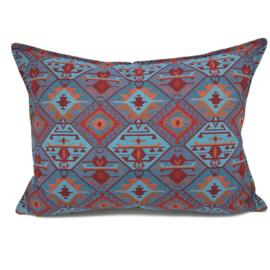 Esperanza Deseo ® kussen - Tribal, turquoise rood oranje lavendelblauw ± 50x70cm