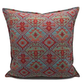 Esperanza Deseo ® kussen - Tribal, turquoise rood oranje mintgroen ± 60x60cm