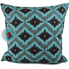 Turquoise met bruin kussen - met ruit/kelim (turquoise) patroon ± 70x70cm