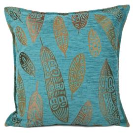 Turquoise kussen - Boho Feathers ± 45x45cm