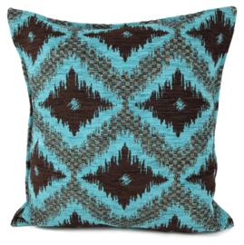 Turquoise met bruin kussen - met ruit/kelim (turquoise) patroon ± 45x45cm