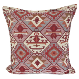 Esperanza Deseo ® kussen - Tribal, roze, creme, rood en grijs ± 45x45cm