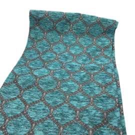 Turquoise tafelloper model Honingraat (tin zilver patroon) 45x140cm