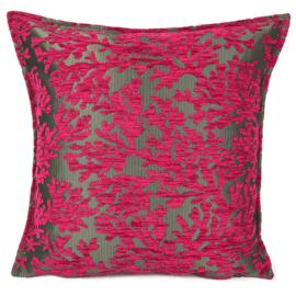 Hard roze kussen - koraal takken ± 45x45cm