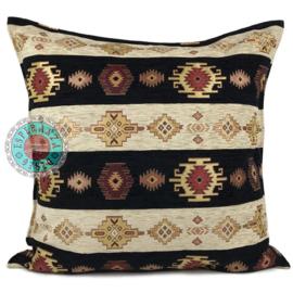 Zwart met creme kussen Aztec stripes ± 70x70cm