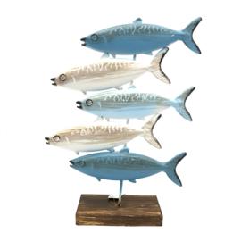 Leuke metalen decoratie met verschillende vissen 37x28,5cm