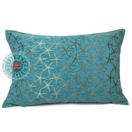 Turquoise kussen - Starfish brons ± 50x70cm